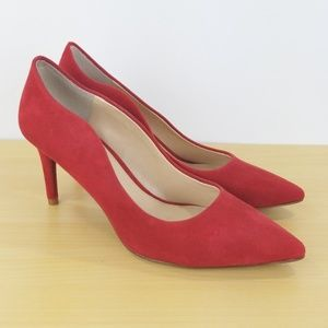 Vince Camuto Heels Sz 7.5 M Red Suede 3""